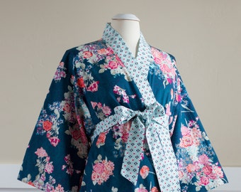 Maternity Kimono Robe. Maternity Bathrobe. Knee length XS - Plus Size. Hospital Gown Nursing. Post Delivery. Floral SK Navy Blue Pink Aqua