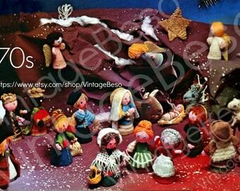INSTANT DOWNLOAD PDF Vintage Crochet Pattern Christmas Nativity Christmas Decorations 1970s Mon Tricot Pattern PdF Pattern