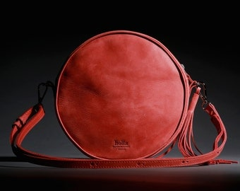 Leather Cross Body Bag, Round Leather Bag, Small Handbag, Crossbody Bag, Wife gift, Girlfriend gift, Red Leather Bag