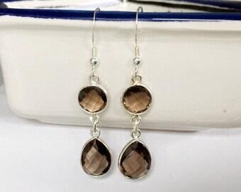 Sterling silver smoky quartz earrings, 925 sterling silver earrings with smoky quartz gemstones in bezel.