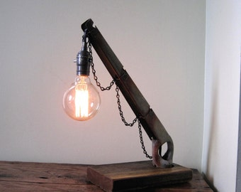 Reclaimed Wood Desk - Accent - Pendant Lamp made from Fence Part & Wood, Goes great with vintage Edison style Bulb!