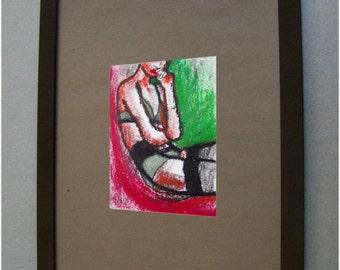 Véro - Original 9/14cm. sur papier aquarelle 12/16 cm. Encre de chine à la plume et pastels à l'huile.