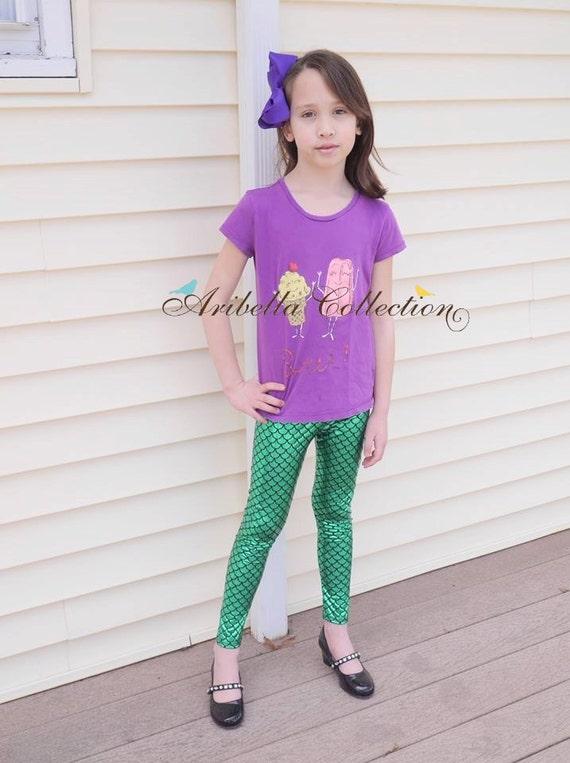 Mermaid Leggings Baby Toddler Girls Little Emerald Green Or