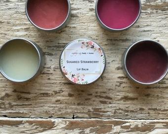 Sugared Strawberry Flavored Lip Balm + 0.5 oz Moisturizing Lip Tint