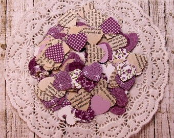 Lavender Mini Hearts, Vintage and New Paper Hearts Confetti, Purple Wedding Table Decoration, Wedding Reception Decor, Mini Heart Die Cuts
