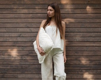 FREE SHIPPING. Limited time only! Linen sleep trousers with top, Linen pajamas pants, linen sleep pants ,Nightgown