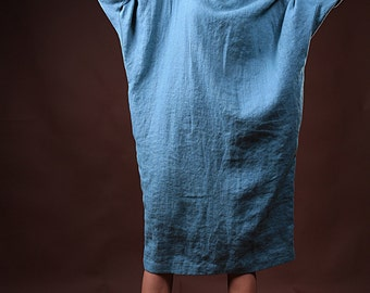 Linen Tunic Dress, Loose Fit Daywear dress with Long Sleeves.