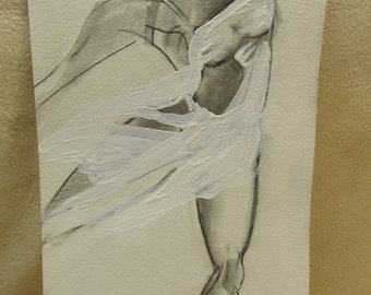 Pencil scetch of girl on pointe w acrylic highlights.