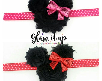 Minnie Mouse Headband-Girls headband-Baby Headband-Toddler Headband- Hair Bows-Minnie mouse shabby headband-Minnie Hairbow