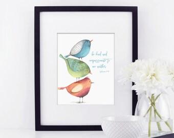 Be Kind to one another. Child's Room Decor. Nursery Decor, Christian Nursery Art. Bible art. Ephesians 4:32