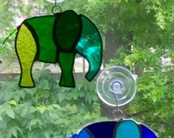 Multicolored Stained Glass Elephant Suncatchers By Sparkle Stained Glass