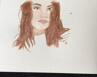 personalized portrait 9x12 watercolor