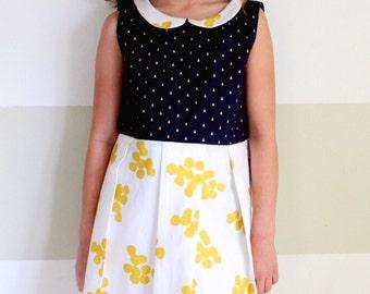 MCKEVIANNA classic dress with pockets,Peter Pan collar, Navy Blue & White dress, Cute girls dress, Classic girls dress
