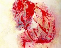 peinture encre et acrylique femme rouge