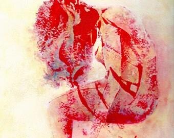 """Art contemporain - Encres sur papier """"peinture encre et acrylique femme rouge"""" Oeuvre originale"""