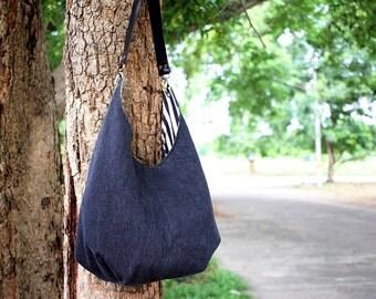 Shoulder bag, Hobo bag, Washed black jeans hobo bag with leather strap
