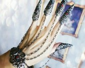 Nail Rings -Gothic Claw Rings Set- Full hand slave bracelet hand jewelry choose your stone colors