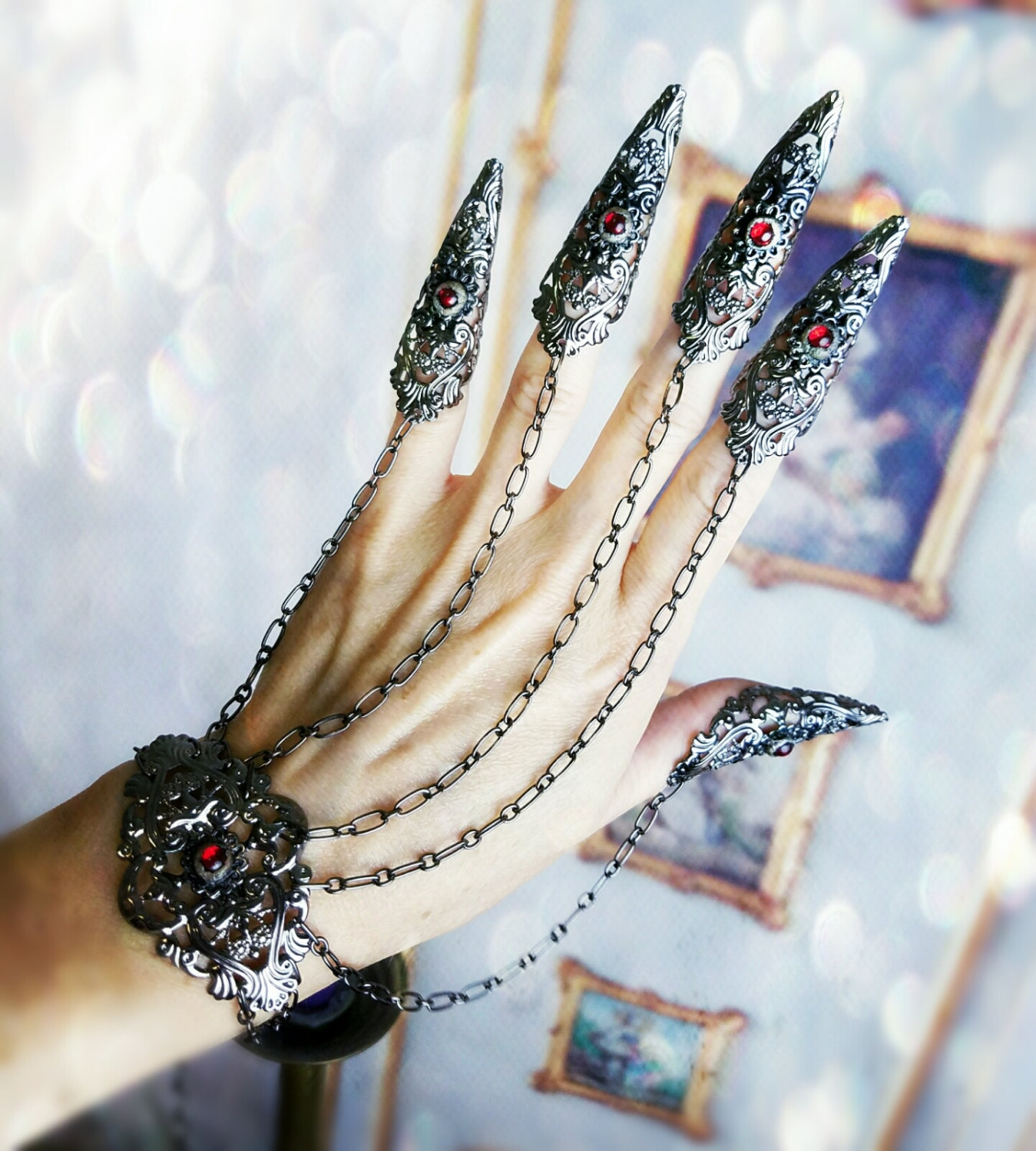 Gothic Claw Rings Nail armor Bracelet Set Made in your Custom