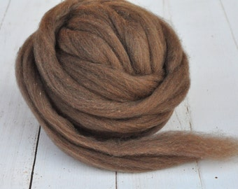 Soft and Fluffy Natural Colored Polwarth Roving - Cocoa - 4 Ounces
