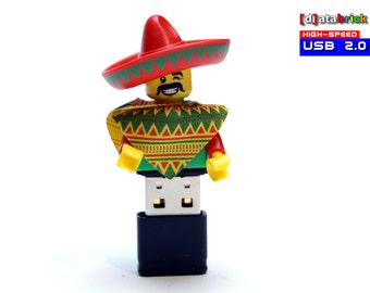 4GB to 32GB USB 2.0 Flash Drive in a original Lego® Figure Mexican