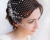 birdcage veil with pearls, wedding bandeau veil, small birdcage veil, wedding veil - OCEAN MIST - white ivory beige hair accessory