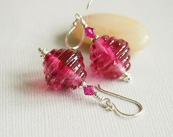 Fuchsia Pink Glass Bead Earrings, Sterling Silver, Beaded Earrings, Ribbed Artisan Lampwork - RUBY