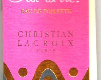 "Vintage Christian LACROIX PERFUME "" C'est la VIE"",- Mint rare sample tube with Fragrance attached in Cardboard  Book - New York - Paris 1986"