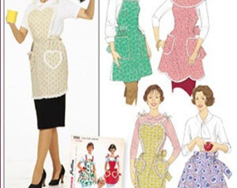 Rare ONE YARD APRON Sewing Pattern - Four Aprons One Main Pattern Piece