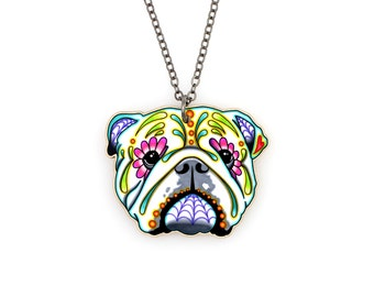 SALE Regularly 19.95 - English Bulldog Day of the Dead Sugar Skull Dog Necklace