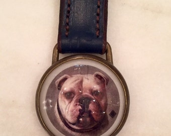 Key Ring / Navy Leather Key Fob w/ Bulldog