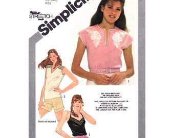 80s Top Pattern Simplicity 9942 Camisole Top Crossed Straps Pullover Cap Sleeve Top Womens Vintage Sewing Pattern Size 8 10 12 UNCUT