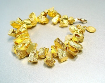Pyrite Gold Bracelet, Raw Gemstone Bracelet, Gold Statement Bracelet, Chunky Bracelet, Rough, Organic, Opulent, Gemstone Nuggets, Bold