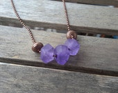 Lavender Glass Necklace   Frosted Light Purple Recycled Glass Beads on Antique Copper Chain