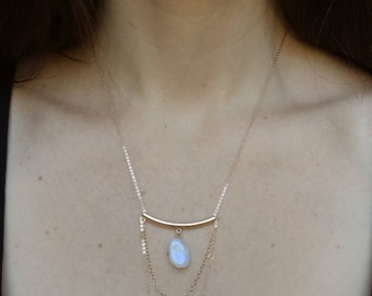 Gold Moonstone Necklace - Gold Layered Necklace - Boho Jewelry - Rainbow Moonstone Gold Chain Waterfall Necklace - Gold Bar Bohemian Jewelry
