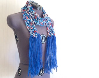 long knit scarf // summer skinny scarf // red white blue scarf // patriotic scarf // long skinny scarf with fringe // deconstructed scarf
