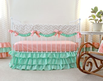 Mint Peach Crib Bedding , Bumperless Baby Girl Bedding,  Peach and Mint Nursery, Chevron baby bedding , Ruffle crib bedding by lottiedababy