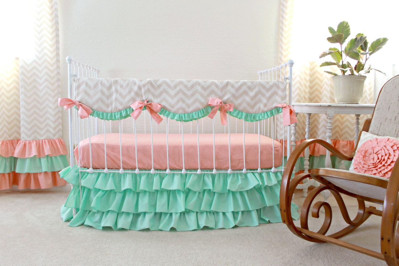 Mint Peach Crib Bedding Bumperless Baby Girl Bedding Peach