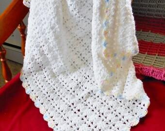 White Baby Blanket Crochet Afghan Handmade for Boys or Girls Multi Color Pastel Border, Unisex Baby Gift