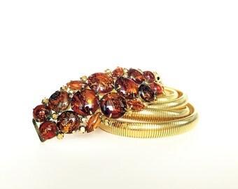 Womans Vintage Gold Belt Double Coil Gold Snake Belt Stretch Belt Cinch Belt Large Jeweled Buckle