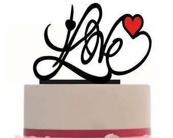 Custom Wedding Cake Topper Love Personalized with a heart in your color choice and a FREE base for display