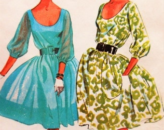 Vintage McCall's 7186 Sewing Pattern, 1960s Dress Pattern, Full Skirted Dress, Bust 32, Party Dress, 1960s Sewing Pattern, Scoop Neck Dress