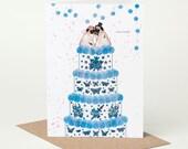 Pug Wedding Card, Mr & Mrs (dog wedding card, tattoo wedding card, pug engagement card)