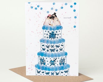 Pug Wedding Card, Mr & Mrs (dog wedding card, tattoo wedding card, pug engagement card)