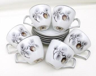 Vintage Espresso Cups Set, Demitasse Cups and Saucers Set, Silver Pine Tea Cups Saucers, Set of 6