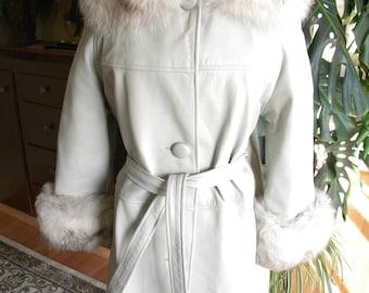 Retro gray leather and fox fur jacket / coat