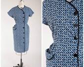 Reserved // 1950s Vintage Dress • Indigo Daybreak • Blue White Print Cotton Vintage 50s Day Dress Plus Size