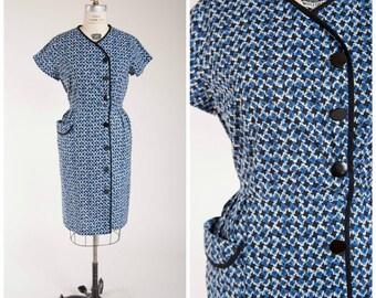 1950s Vintage Dress • Indigo Daybreak • Blue White Print Cotton Vintage 50s Day Dress Plus Size