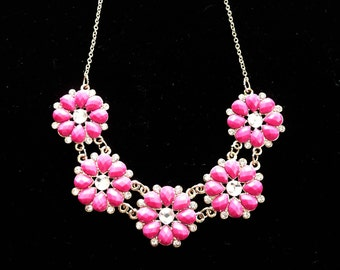 Rhinestone & Lucite Necklace Pink Flowers Fun