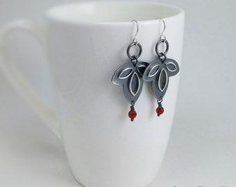 Sterling Silver Leaf Earrings - Handmade Earrings - Silver Boho Earrings
