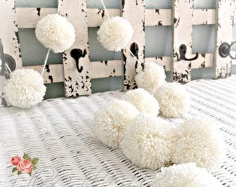 """IVORY Pom Pom Garland Yarn Pom Pom Garland - Baby Bridal Shower Garland  Birthday  Wedding  Ivory Pom Pom Decoration  2"""" - 2.5"""" size 10 Ft."""